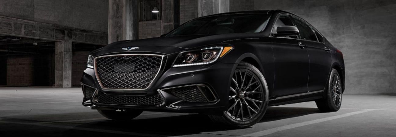 Black 2020 Genesis G80 parked in parking garage